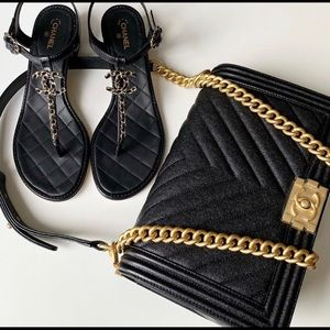CHANEL Shoes - Chanel quilted leather  black cc logo sandal